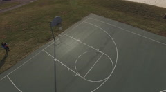 Basketball skills practiced by young player aerial view 4k Stock Footage