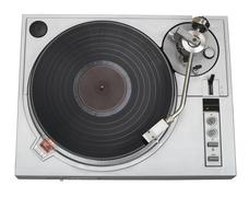Stylish turntable with vinyl record top view cutout Stock Photos