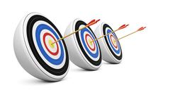 Three targets hit with Bull's-Eye shot Stock Illustration