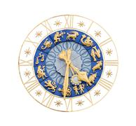 Medieval clock with Zodiac signs cutout - stock photo
