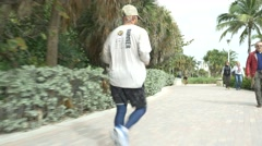 Pedestrian fitness path Stock Footage