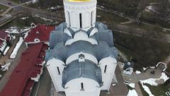 Aerial 4K: Orthodox church, flying near the dome with a cross Stock Footage