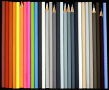 rainbow and grey colored pencils - stock photo