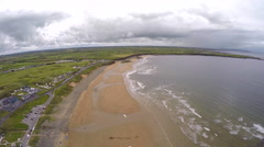 Aerial footage of the beach at Spanish Point in County Clare in Ireland. - stock footage