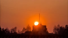 Sunset over the city of Lut'sk, Ukraine Stock Footage