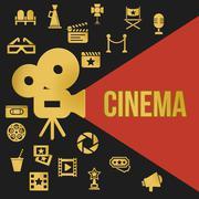 Cinema retro projector - stock illustration