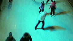 People Skating On The Ice Rink, View From Above Stock Footage