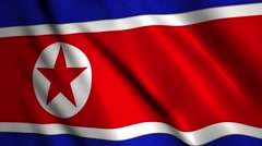 North Korean flag  waving in the wind Stock Footage