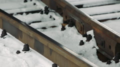 Railcar wheel. Rail station Stock Footage
