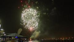 End of Ramadan month celebrate fireworks at Dubai Creek. Colorful explosions - stock footage