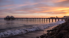 Malibu Pier Twilight Time Lapse with Zoom In Stock Footage