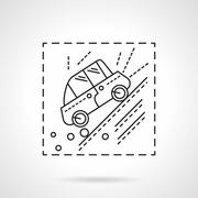 Car accident in the mountains line vector icon - stock illustration