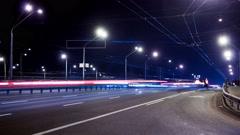 Kiev, Ukraine, February 7, 2016: Timelaps. Car fast drive on night road Stock Footage