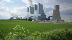 Power Stations In Green Landscape Stock Footage