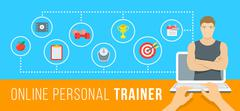 Online personal fitness instructor conceptual infographic illustration - stock illustration