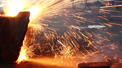 Worker are cutting steel, Background of Industry steel, Sparkles and light gas c - stock footage