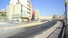 Dubai Creek embankment road traffic, time lapse, pedestrian promenade pavement Stock Footage