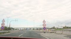 Crossing the border between Hungary and Austria - stock footage