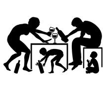 Children with Alcoholic Parents Stock Illustration