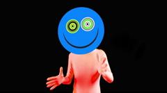 acid smiley emoticon raver man cartoon moods - stock footage
