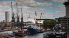 4k docklands canary wharf london o2 millenium dome - stock footage