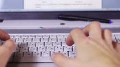 Typing on a Computer Laptop Keyboard Stock Footage