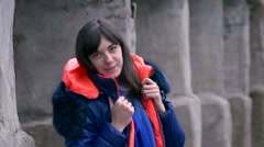 Girl winter jacket Stock Footage