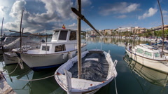 Alcudia port harbour fishing boats coast sea mallorca Stock Footage
