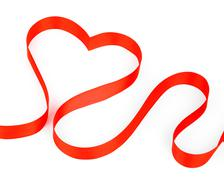 Valentines day card - heart made of ribbon - stock photo