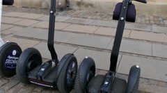 Stock Video Footage of Parked Segways in front of Amalienborg Palace in Copenhagen