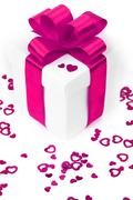 Gifts boxes with textile hearts Stock Photos