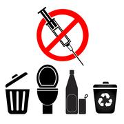 No Disposal for Syringes and Needles Stock Illustration