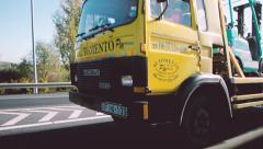 Defocused trailer truck traffic on highway Stock Footage