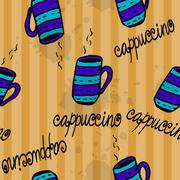 Seamless pattern with sketchy  coffee cups - stock illustration