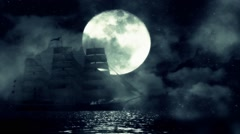 A Sailing ship on a Full Moon Night Moves Slow Between the Waves and Fog Stock Footage