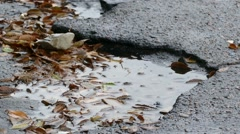 bad asphalt tarmac rain pits in pool of floating leaves are fall - stock footage