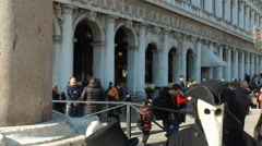 Masked people posing on  St.Marco square in Venice during carnival slow motion 2 Stock Footage