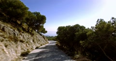 4K Aerial, Flying in the mountains with view on La Capellania, Andalusia, Spa Stock Footage