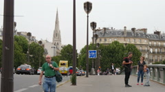 The belfry of American Cathedral in Paris seen from Pont de l'Alma, Paris Stock Footage