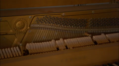 Vintage retro grand piano strings and keys - stock footage