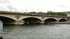 Industrial boat sailing under Pont d'Iena in Paris - stock footage