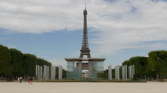 The Wall for Peace monument and Eiffel Tower in Paris Stock Footage