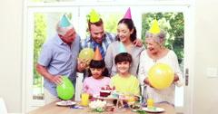 Happy family celebrating birthday Stock Footage