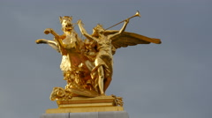 View of a wing horse with an amazone golden sculpture in Paris - stock footage