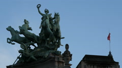 Immortality Outstripping Time - a quadriga on the roof of Grand Palais, Paris Stock Footage