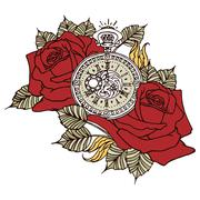 Rose clock retro vector illustration design - stock illustration