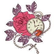 Rose clock tattoo design vector illustration - stock illustration