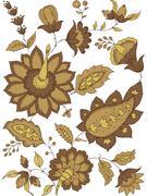 Floral design motif abstract decor - stock illustration