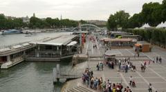 Tourists waiting  to embark on Batobus in Paris Stock Footage
