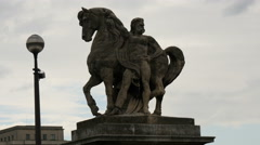 Statue of man and horse in Paris Stock Footage